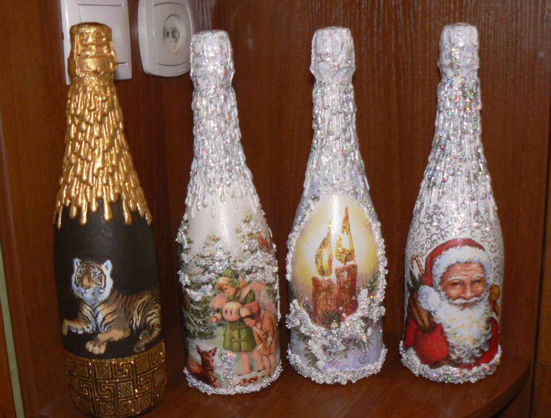 Оформление бутылок на новый год своими руками