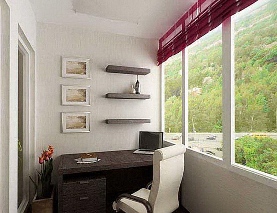 Как оборудовать малогабаритный балкон под кабинет фото..